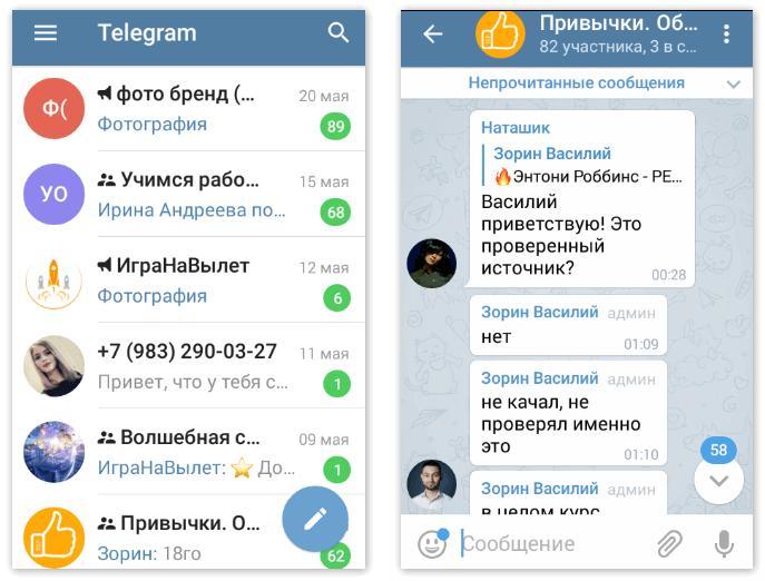 Интерфейс Телеграмм