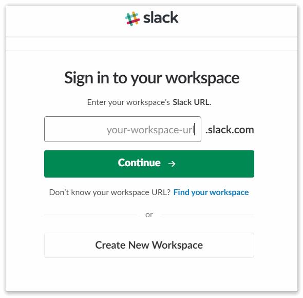 Создание новой учетной записи в Slack