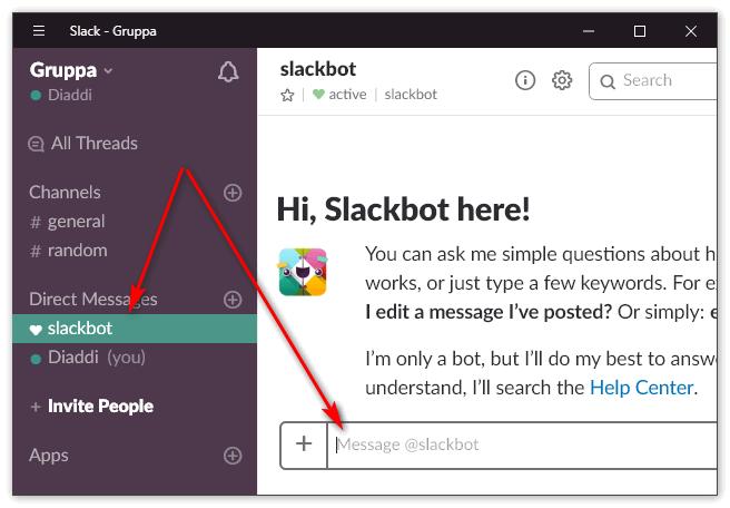 Задать вопрос в Slack