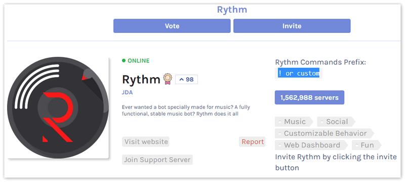 Бот Rythm для Дискорд