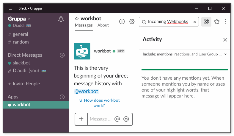 Bot Workbot в Slack