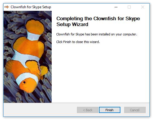 Окончание установки Клоун фиш для Скайпа