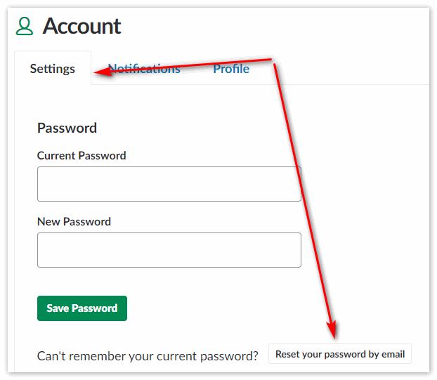 Отправить пароль Slack на электронную почту
