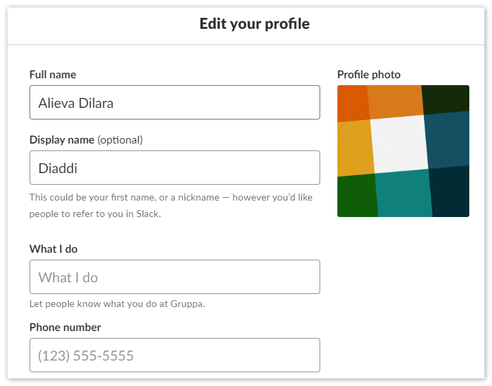 Редактировать профиль в Slack