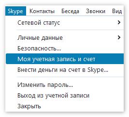 Вкладка Моя УЗ и счет в Скайп