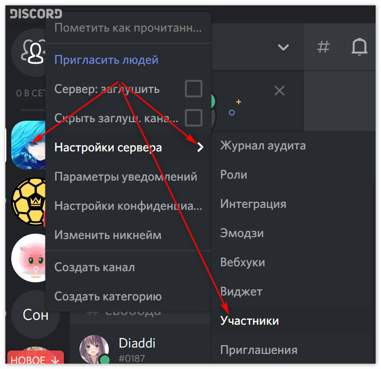 Вкладка Участники в Discord