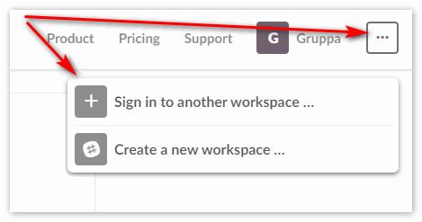 Значок трех точек на сайте Slack