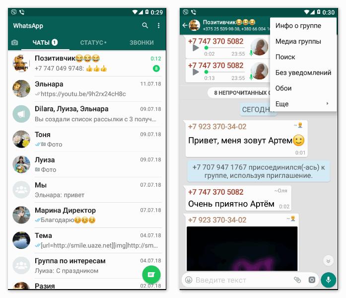 Интерфейс Ватсап