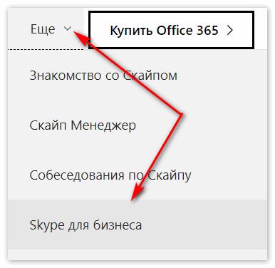 Вкладка Скайп для бизнеса на ОС Skype